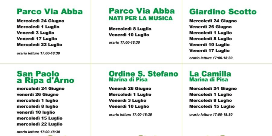 I giorni e gli orari delle Letture e Musica nel Parco di Pisa